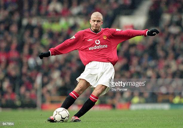 David Beckham of Manchester United takes a freekick during the FA Carling Premiership match against Liverpool played at Old Trafford in Manchester...