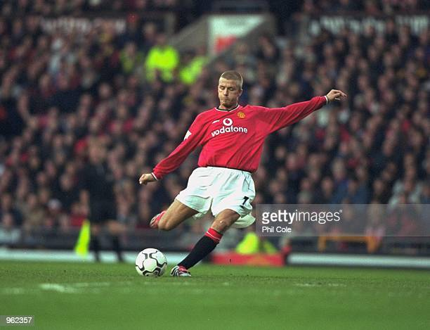 David Beckham of Manchester United takes a freekick during the FA Carling Premiership match against Tottenham Hotspur played at Old Trafford in...