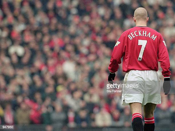 David Beckham of Manchester United walks over to take a setpiece during the FA Carling Premiership match against Liverpool played at Old Trafford in...