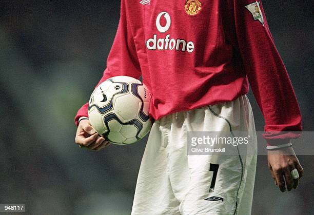 David Beckham of Manchester United walks over to take a corner during the FA Carling Premiership match against Ipswich Town played at Old Trafford in...