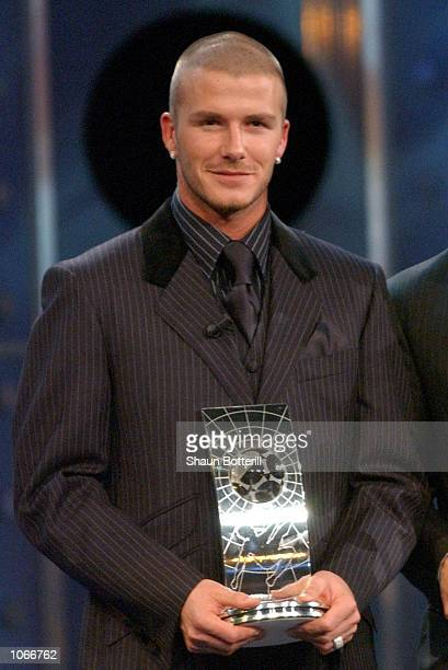 David Beckham of Manchester United with his second place award at the FIFA World Player of the Year Awards in Zurich Switzerland DIGITAL IMAGE...