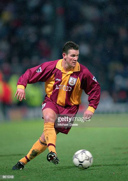 Dean Windass of Bradford in action during the FA Carling Premier League match against Sunderland played at Valley Parade in Bradford England...