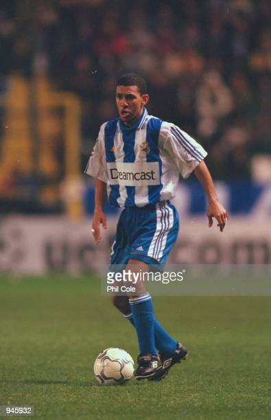 Djalminha of Deportivo La Coruna in action during the UEFA Champions League Group B match against AC Milan played at the Estadio Riazor in Coruna...
