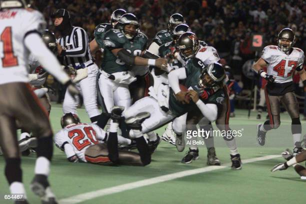 Eagles quarterback Donovan McNabb scores the first touchdown during the NFC Wild Card game between the Tampa Bay Buccaneers and the Philadelphia...