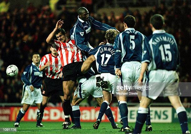 Emerson Thome of Sunderland clashes with Kevin Campbell of Everton during the Sunderland v Everton FA Carling Premiership match at the Stadium of...
