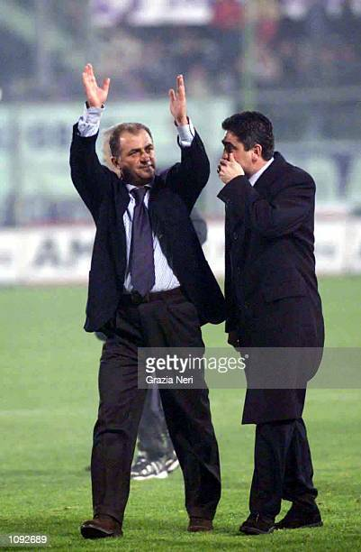 Fatih Terim Fiorentina coach celebrates after the match between Fiorentina v Inter in the Serie A played at the Florence Stadium Florence Italy...