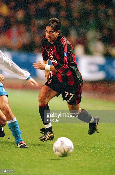 Francesco Coco of AC Milan in action during the UEFA Champions League Group B match against Deportivo La Coruna played at the Estadio Riazor in...