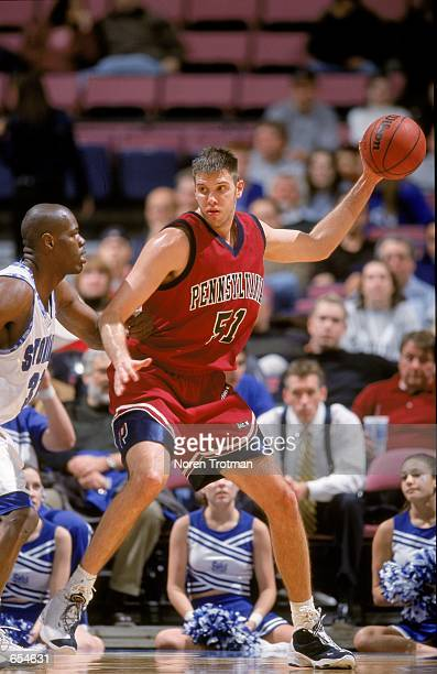 Geoff Owens of the Pennsylvania Quakers grips the ball during the game against the Seton Hall Pirates at the Continental Airlines Arena in East...