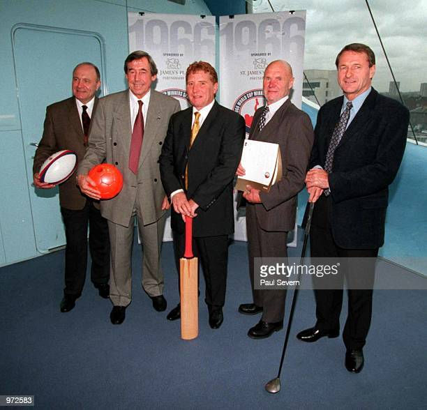 George Cohen Gordon Banks Alan Ball Ray Wilson and Roger Hunt during a Photoshoot at Lords Cricket Ground today after a lunch held by the 1966 World...