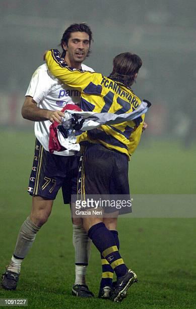 Gianluigi Buffon of Parma celebrates with Fabio Cannavaro during the Parma v Atalanta Serie A match played at the Ennio Tardini Stadium Parma...