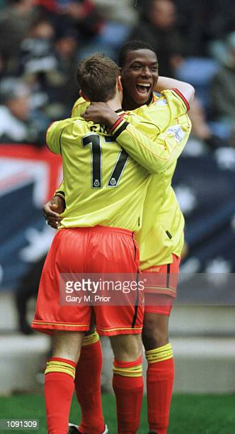 Gifton Noel-Williams of Watford celebrates with goal scorer Tommy Smith during the Bolton Wanderers v Watford Nationwide Division One match at the...