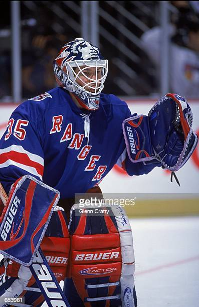 Goalie Mike Richter of the New York Rangers looks on during the game against the Anaheim Mighty Ducks at the Arrowhead Pond in Anaheim California The...