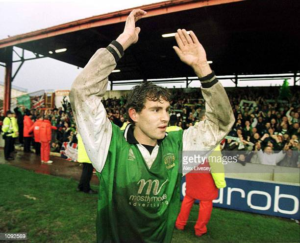 Goalscorer Nick Crittenden of Yeovil celebrates after defeating Blackpool in the FA Cup 2nd Round match between Blackpool and Yeovil at Bloomfield...