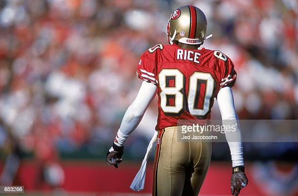 Jerry Rice of the San Francisco 49ers walks off the field during the game against the Chicago Bears at the 3Com Park in San Francisco, California....
