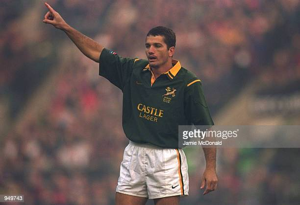Joost Van Der Westhuizen of South Africa in action during the Rugby Union International Friendly match against England played at Twickenham in London...