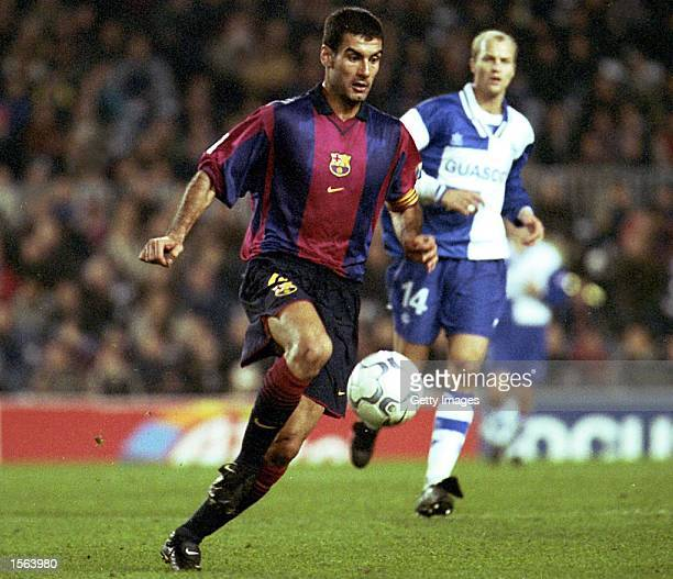 Josep Guardiola of Barcelona in action during the Primera Liga match between Barcelona and Alaves played at the Nou Camp in Barcelona Mandatory...