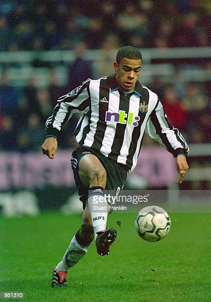 Kieron Dyer of Newcastle United in action during the FA Carling Premiership match against Manchester United played at St James Park in Newcastle...