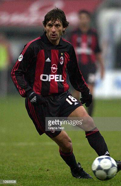 Leonardo of AC Milan in action during a SERIE A 12th Round League match between AC Milan and Perugia played at the Giuseppe Meazza 'San Siro' Stadium...