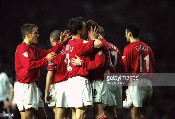 Manchester United celebrate during the FA Carling Premiership match against Ipswich Town played at Old Trafford in Manchester England Manchester...
