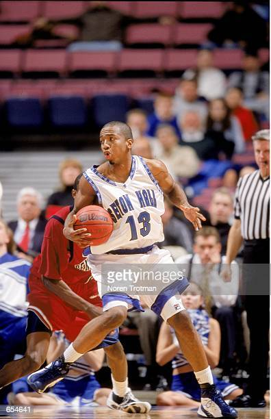 Marcus ToneyEl of the Seton Hall Pirates looks to move the ball during the game against the Pennsylvania Quakers at the Continental Airlines Arena in...