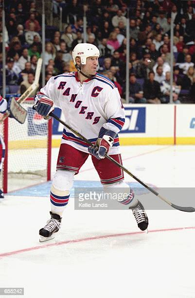 Mark Messier the New York Rangers skates on the ice during the game against the Los Angeles Kings at the STAPLES Center in Los Angeles California The...