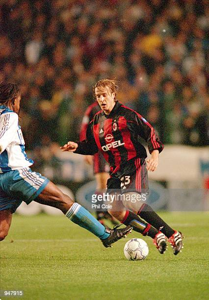 Massimo Ambrosini of AC Milan in action during the UEFA Champions League Group B match against Deportivo La Coruna played at the Estadio Riazor in...