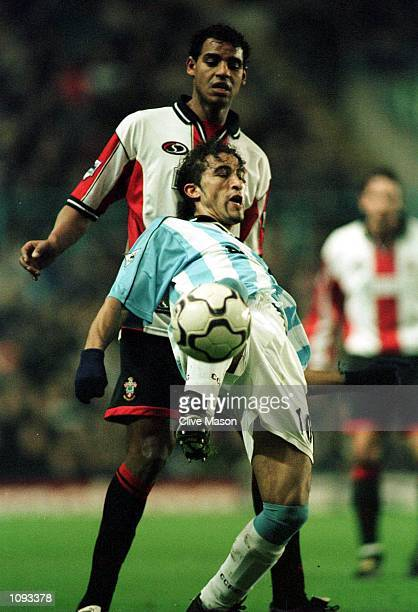 Moustapha Hadji of Coventry holds off Tahar El Khalej of Southampton during the match between Coventry City and Southampton in thr FA Carling...