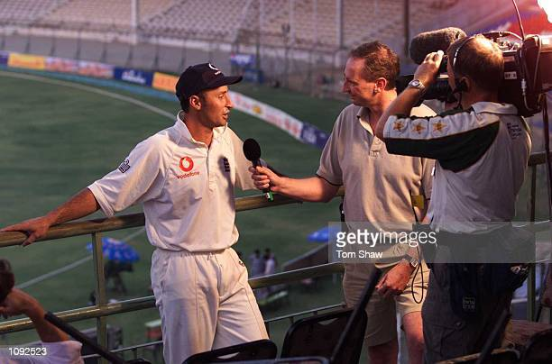 Nasser Hussain of England interveiwed during the third and final test match between Pakistan and England at the National Stadium in Karachi Pakistan...