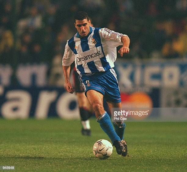 Nourredine Naybet of Deportivo La Coruna in action during the UEFA Champions League Group B match against AC Milan played at the Estadio Riazor in...