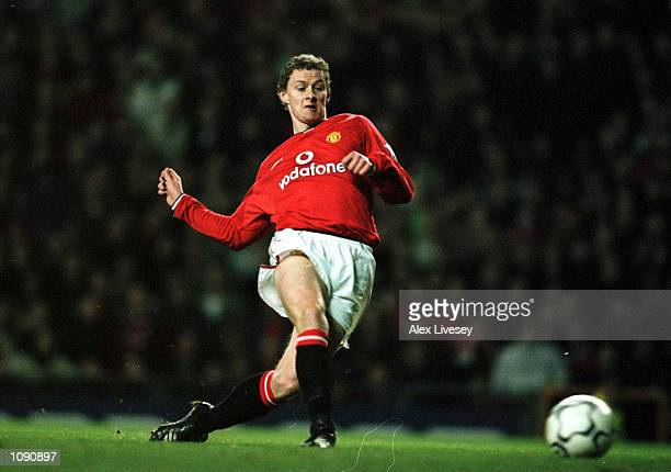 Ole Gunnar Solskjaer of Man Utd scores the second goal during the Manchester United v Tottenham Hotspur FA Carling Premiership match at Old Trafford...