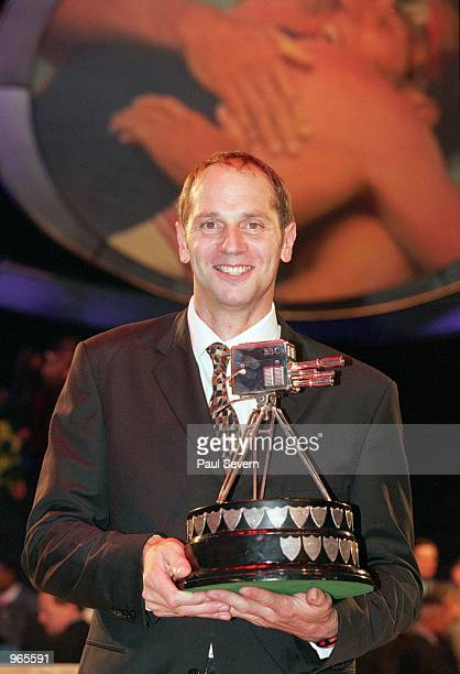 Olympic record breaker Steve Redgrave of Great Britain poses with the winning BBC Sports Personality of the Year Award held at the BBC Television...
