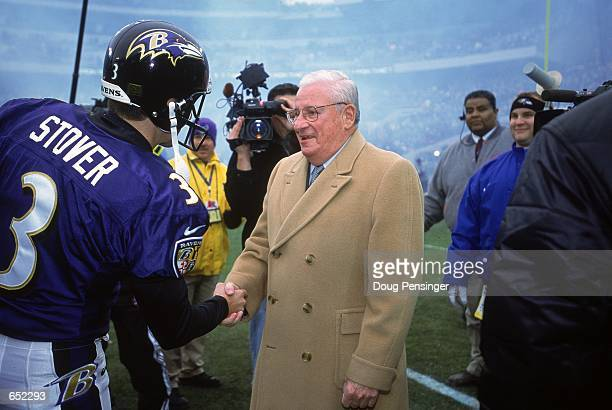 Owner Art Modell of the Baltimore Ravens is Honored for being involved in the NFL for 40 years before the game against the San Diego Chargers at The...