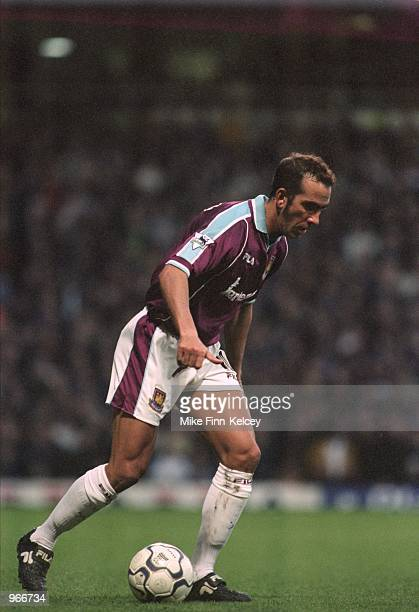 Paolo Di Canio of West Ham in action during the FA Carling Premiership match against Aston Villa played at Upton Park in London The match ended in a...