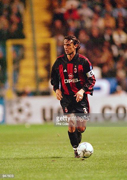 Paolo Maldini of AC Milan in action during the UEFA Champions League Group B match against Deportivo La Coruna played at the Estadio Riazor in Coruna...