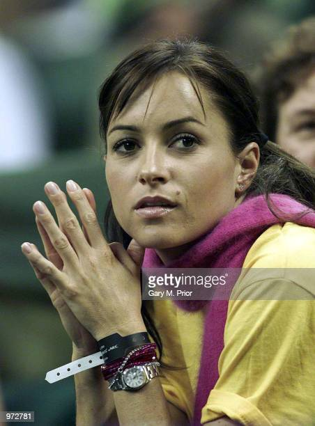 Pat Rafter's girlfriend Lara Feltham watches Rafter during the second rubber of the Davis Cup Final between Spain and Australia at the Palau Sant...