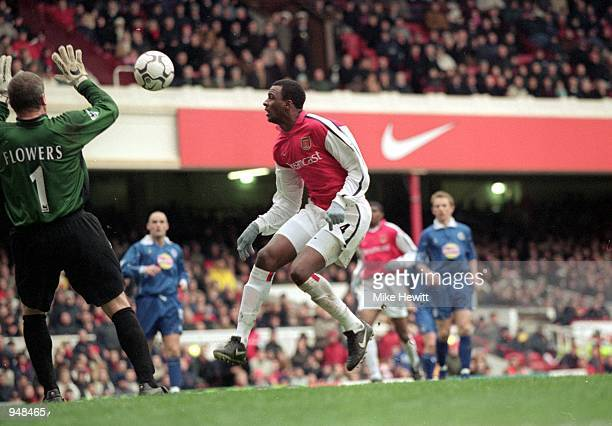 Patrick Vieira scores for Arsenal during the FA Carling Premier League match against Leicester City played at Highbury in London Arsenal won the game...