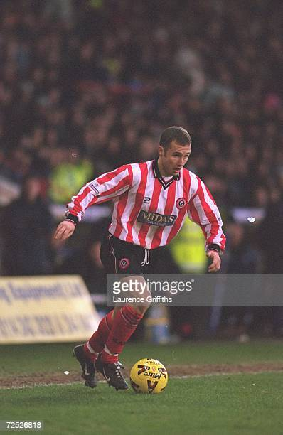 Paul Devlin of Sheffield United in action during the Nationwide League Division One match against Preston North End played at Bramall Lane in...