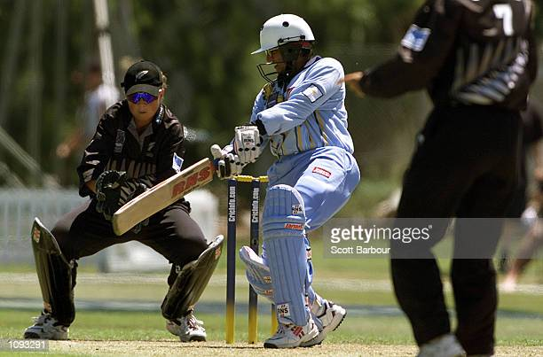 Purnima Rau of India in action whilst scoring 67 not out during the New Zealand v India Semi Final match in the 2000 CricInfo Womens Cricket World...