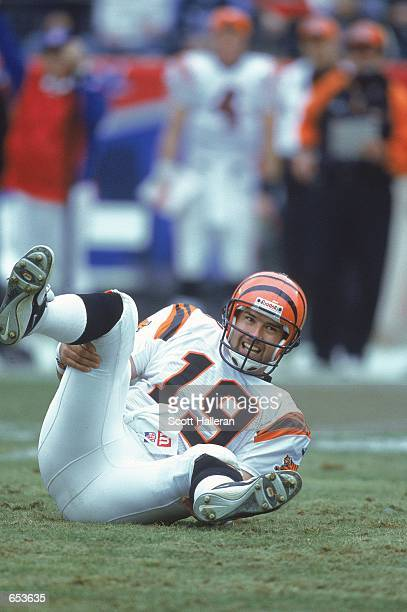 Quarterback Scott Mitchell of the Cincinnati Bengals tries to get up during the game against the Tennessee Titans at the Adelphia Coliseum in...