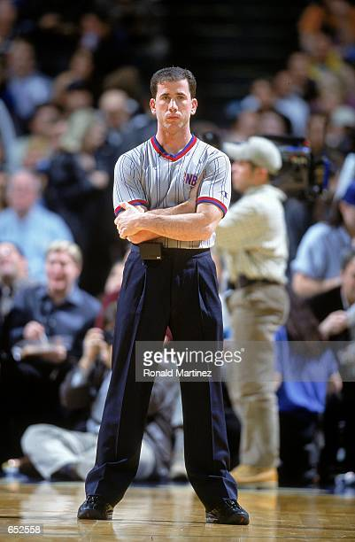 Referee Tim Donaghy stands on the court during the game between the New York Knicks and the Dallas Mavericks at the Reunion Arena in Dallas, Texas....
