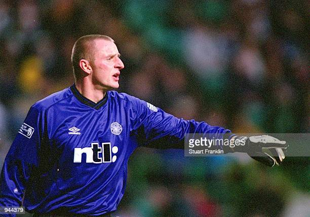 Robert Douglas of Celtic organises his defence during the Scottish Premier League match against Dunfermline Athletic played at Celtic Park in Glasgow...