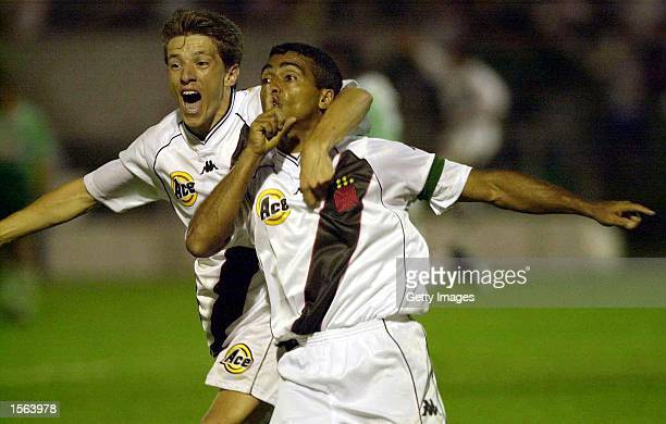 Romario and Juninho of Vasco De Gama celebrates scoring the forth goal during the 43 win over Palmeiras in the final of Mercosul Cup played at Parque...