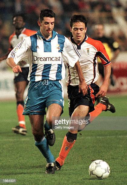 Roy Makaay of Deportivo in action during the Primera Liga match between Deportivo La Coruna and Oviedo played at the Municipal De Riazor in La Coruna...