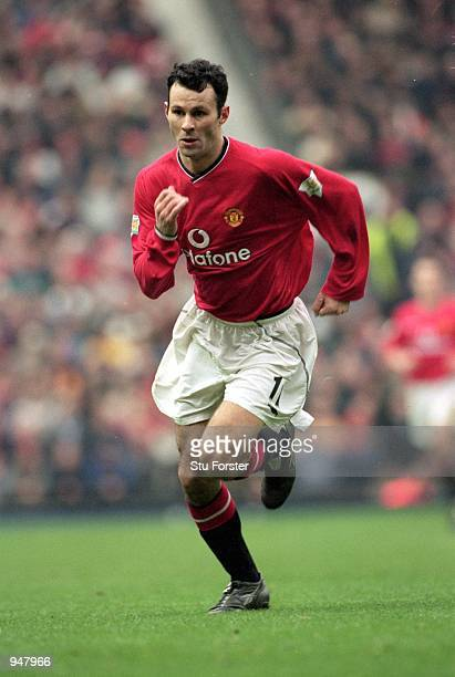 Ryan Giggs of Manchester United chases a loose ball during the FA Carling Premiership match against Liverpool played at Old Trafford in Manchester...