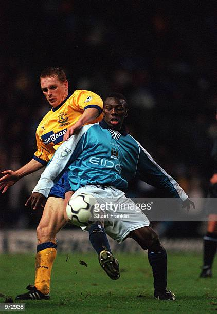 Shaun WrightPhillips of Man City fends off Everton's Mark Pembridge during the FA Carling Premiership match between Manchester City and Everton at...
