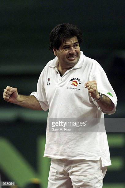 Spanish captain Javier Duarte celebrates during the fourth rubber between Juan Carlos Ferrero of Spain and Lleyton Hewitt of Australia in the final...