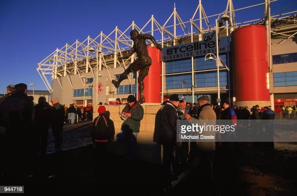 Statue of Wilf Mannion outside the Riverside Stadium before the FA Carling Premiership match between Middlesbrough and Coventry City played at the...