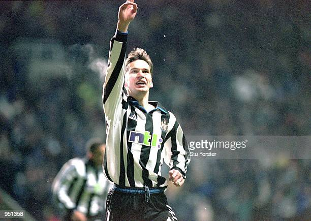 Stephen Glass of Newcastle United celebrates his equalising goal during the FA Carling Premiership match against Manchester United played at St James...