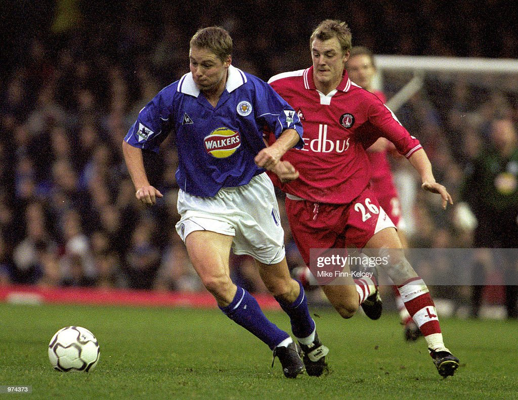Steve Guppy of Leicester City fends off Mathias Svensson of Charlton Athletic during the FA Carling Premiership match against Charlton Athletic at Leicester. Leicester won 3-1. Mandatory Credit: Mike Finn-Kelcey/ALLSPORT