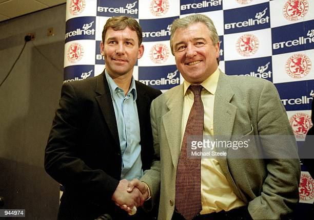 Terry Venables is announced as coach at a Middlesbrough FC press conference with Bryan Robson at the Riverside Stadium in Middlesbrough England...